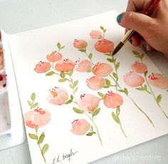 Soft Watercolor Peach Flowers by Elise Engh