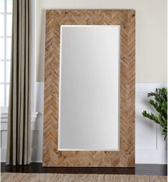Uttermost Demetria Oversized Wooden Wall or Leaner Mirror - 43.75W x 74H in. - Mirrors at Hayneedle