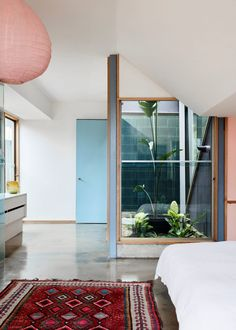 A glazed courtyard brings natural light into the main bedroom suite. Park Homes, Dezeen, Clouds, Studio, Architecture, New Builds, House, Interior Design, Building