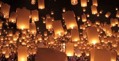 floating luminaries sky | Starry Night: Gold & Blush Color Inspiration - The Bride's Guide ...