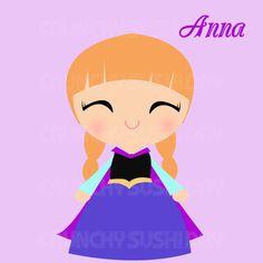 Instant Download Princess Anna, Frozen, Cute Kawaii Princess Digital Graphic, Clipart, Printable, cute fairy tale princess on Etsy, $1.50
