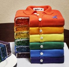 how cool is this cake, its looks just like folded t-shirts.