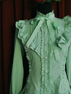 Being the most beautiful Lolita princess, Milanoo Lolitashow Classic Green Chiffon Stand Collar Long Sleeve Lolita Shirt couples with sweet styles and comfortable materials at affordable prices. Hijab Dress, Blouse Outfit, Chiffon Ruffle, Ruffle Blouse, Moda Vintage, Shirt Blouses, Shirts, Sweet Style, Diy Clothes