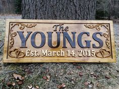 Youre looking at a 9.25 x 23 carved wooden sign! The sign is made using a two tone stain finish on 3/4 Solid Pine thats finished with a sealer. Each sign includes a sawtooth hanger on the back for quick and easy hanging. Notice the 3D lettering and images that pop right out of the sign. This unique and beautifully crafted sign is truly one of a kind. Such a wonderful gift for an anniversary or a newly married couple. Every sign is handmade out of premium quality pine. We do not consider…