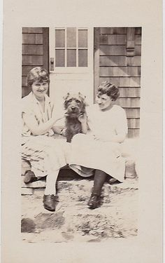 Vintage Antique Photograph Two Woman Sitting With Adorable Puppy Dog on Porch