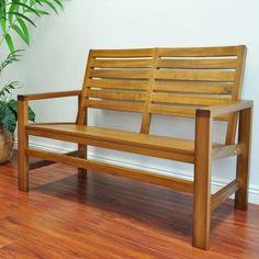 Outdoor Shine Company 40 in. Slat Back Contemporary Hardwood Indoor Bench Oak - 4224OA