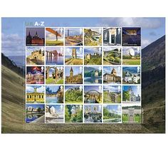 Large image of the UK A-Z stamps sheet