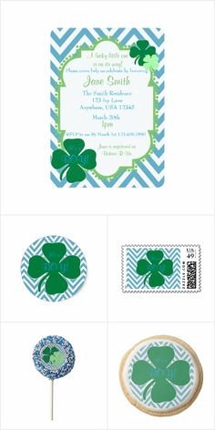 Lucky Four Leaf Clover Boy Baby Shower Collection: This lucky four leaf clover collection will be great for your next baby shower!  This collection includes invitations, stamps, envelopes, stickers, napkins, paper plates, favor boxes, cookies and Oreo Pops!