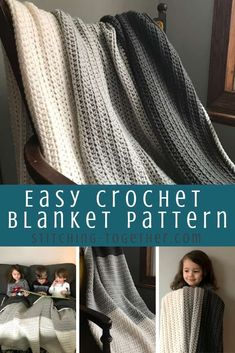 Don't you love a good and simple half double crochet blanket pattern? This moder… Don't you love a good and simple half double crochet blanket pattern? This modern blanket will look great with any home decor. Get the free pattern now. Crochet Stitches For Blankets, Crochet Afghans, Afghan Crochet Patterns, Baby Blanket Crochet, Knit Crochet, Modern Crochet Blanket, Crochet Throws, Crochet For Beginners Blanket, Crochet Humor