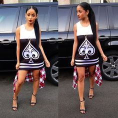 Kayla Phillips Pretty Girl Swag Dope Hot Oufit Contrast Panel Tank Top Dress Black White Monochrome Spade Detail Print Plaid Shirt Tie Around Waist High Heel Strappy Sandals Side Ponytail Slick Middle Part Center Parting Hair Hairstyle Mixed Chicks Cute