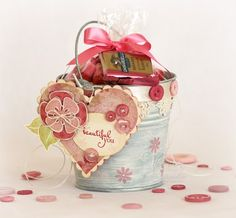 Target Dollar Spot Pail Up Do Valentine - Love the stamped white wash finish