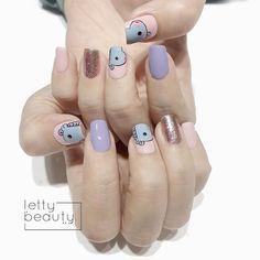 Cute Acrylic Nails, Cute Nails, Gel Nails, Stiletto Nail Art, Pastel Nails, Korean Nail Art, Korean Nails, Army Nails, Nail Swag
