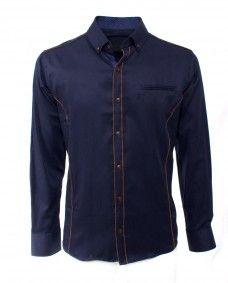457af4671f Camisa Azul Marino de Vestir de manga Larga. Alpha Noir · Alpha Noir  Camisas para Hombre