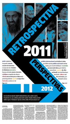 "One page from ""Retrospectiva 2011, Perspectivas 2012"" section by Fernanda Giulietti -- big, bold, magazine-style text treatment (used throughout section), strong diagonals"
