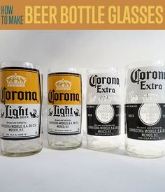 Beer Bottle Glasses | How To Cut A Glass Bottle With String By DIY Ready. http://diyready.com/32-creative-easter-egg-decorating-ideas-anyone-can-make/