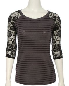 Black and Gray Stripped Tee with Lace Sleeves Rue 21