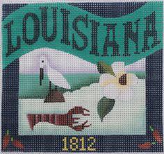 Denise DeRusha Designs Louisiana Hand Painted Needlepoint Canvas 18 count