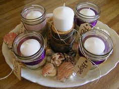 Advent wreath made from mason jar and natural elements (shells, wood tags, hemp, sand and drift wood). Advent Candles, Christmas Candles, Candle Jars, Christmas Wreaths, Mason Jars, Christmas Crafts, Burlap Christmas, Christmas Ornaments, Catholic Advent Wreath