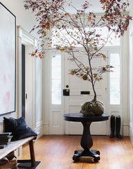 fall foliage in entryway