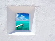 Photographic Print: Ibiza Mediterranean White Wall Window with Formentera Beach View [Photo-Illustration] by holbox : Menorca, Ibiza Formentera, Ibiza Travel, Balearic Islands, Home Living, Island Life, Photo Illustration, White Walls, View Photos