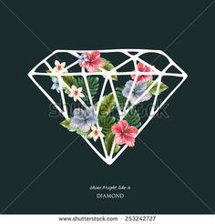 Decorative diamond shape with flowers, vector illustrations.