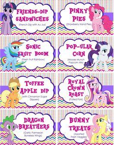 INSTANT DOWNLOAD - Food Labels My Little Pony Birthday Party, Buffet Table Tents, Folded Food Tents, Printable JPEG on Etsy, $5.00