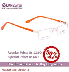 EDWARD BLAZE EB1009 WHITE ORANGE EYEGLASSES http://www.glareaffair.com/eyeglasses/edward-blaze-eb1009-white-orange-eyeglasses.html  Brand : Edward Blaze  Regular Price: Rs1,300 Special Price: Rs649  Discount : Rs651 (50%)