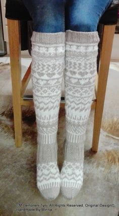 Àhhku Kirjoneulesukat Handknitted socs, my own design. Crochet Socks, Knitting Socks, Knit Crochet, Thigh High Socks, Knee Socks, Sock Crafts, Stocking Tights, Fair Isle Knitting, Wool Socks