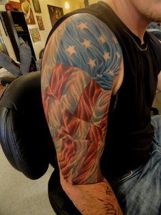 American flag tattoo.