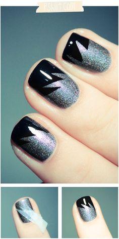 DIY : tuto facile pour des ongles rock et glitter