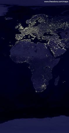Africa and European Continent Lights