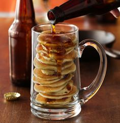 Beer and Bacon Mancakes by Betty Crocker Recipes: Make it with your favorite regular or nonalcoholic beer. #Pancakes #Beer #Mancakes #Betty_Crocker