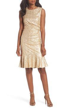 c4cd8c236530 Sequin Ruffle Hem Sheath Dress