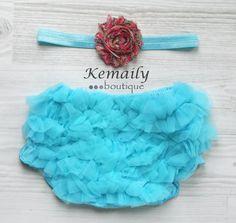 Hot Pink Paisley Satin Headband and Turquoise Matching Ruffle Bloomers Set From Kemaily Boutique, newborn headband, baby girl headbands