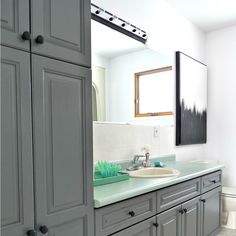 $100 Diy Bathroom Makeover Using Paint Dark Gray Cabinets With Mint