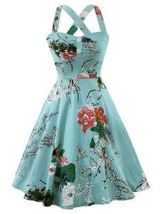 [26% OFF] 2020 Cross Back Flower Print Vintage Dress In CYAN OPAQUE | DressLily