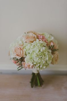 Nice use of green for bouquet? hydrangea bouquet - reminds me of my bouquet except my roses were ivory. Hydrangeas take up a lot of space in a bouquet, making it cost a little less. Hydrangea Bouquet Wedding, Bride Bouquets, Floral Wedding, Wedding Flowers, Rose Bouquet, Flower Bouquets, Spring Bouquet, Flower Decorations, Wedding Decorations