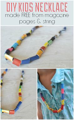 FREE kids crafts - DIY necklace made from magazine pages