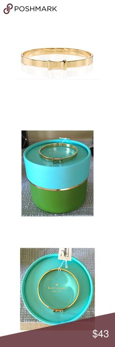 KATE SPADE TAKE A BOW BANGLE Brand new with tags.  Love this bangle in just the plain gold metal.  Gold plated metal, slip on style.  Comes with the box and dust bag.TRADESLOWBALL OFFERS kate spade Jewelry Bracelets