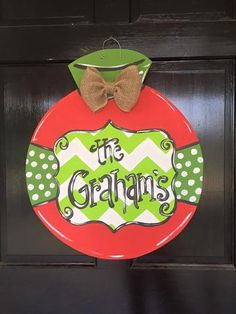Christmas Door Hanger customize colors and name in notes at checkout