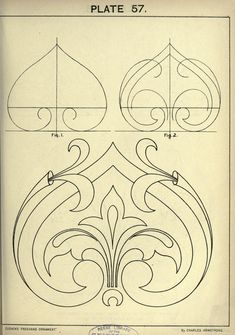 see site for many more - 1895 - Cusack's freehand ornament. A text book with chapters on elements, principles, and methods of freehand drawing, for the general use of teachers and students . by Armstrong, Charles Pattern Art, Pattern Design, Motifs Art Nouveau, Motif Arabesque, Stencils, Ornament Drawing, Leather Pattern, Motif Floral, Islamic Art