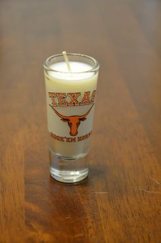 Texas Longhorns Tall Shot Glass Candle  by ThreeChickadeeLane, $5.99