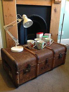 SAFARI british COLONIAL empire CAMPAIGN 1930s banded STEAMER trunk