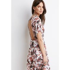 Forever 21 Women's  Floral Chiffon Jumpsuit ($18) ❤ liked on Polyvore featuring jumpsuits, white floral jumpsuit, sheer jumpsuit, short sleeve jumpsuit, floral print jumpsuit and jump suit
