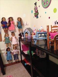 American Girl doll storage.  $15 rail hooks from Lowes.