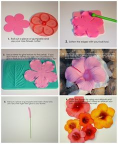 Cakes by Maylene: Hibiscus Tutorial gumpaste sugarpaste Flowers Fondant Flower Tutorial, Fondant Flowers, Clay Flowers, Edible Flowers, Cake Tutorial, Hawaiian Flowers, Hibiscus Flowers, Tropical Flowers, Hibiscus Cake