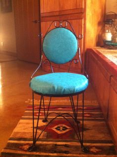 Faux Turquoise Tooled Leather Vanity Chair
