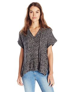 RD Style Womens Hooded V Neck Poncho Sweater Grey Twist Medium ** Be sure to check out this awesome product. (This is an affiliate link)