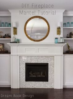 diy fireplace mantle. A great tutorial to build your own fireplace mantle from scratch on dreambookdesign.com A great place to display all of your home decor!