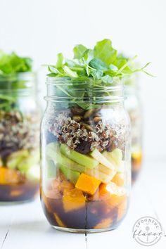 Fall Mason Jar Salad with Maple Balsamic Dressing
